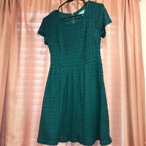 Green lace fit and flare dress